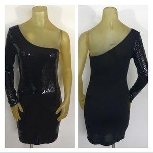 Baby Phat Black Sequins Cold Shoulder Dress Sz S